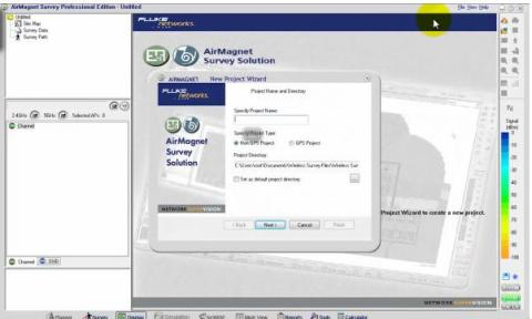 Creating a new project in Airmagnet Survey Pro