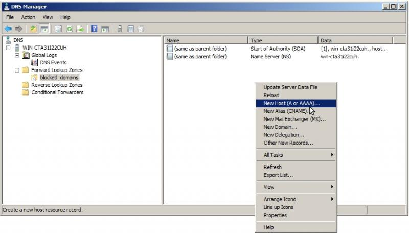 How to block or sinkhole domains in Windows Server 2008