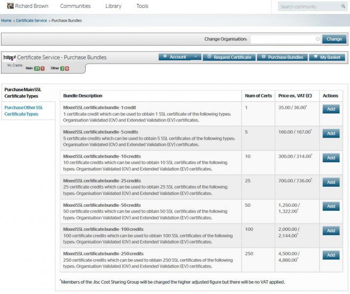 Purchase Certificate Bundle Credits Jisc Community